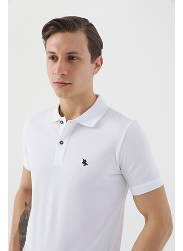 D'S Damat Regular Fit Pike Dokulu T-Shirt Beyaz